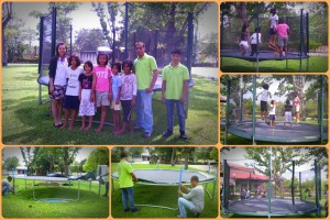 เด็ก ๆ สนุกกับการเล่นเทรมโพลีน